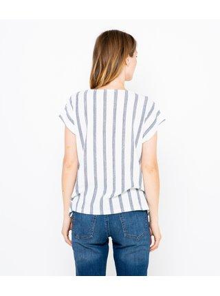 Šedo-bílé pruhované volné tričko s uzlem CAMAIEU