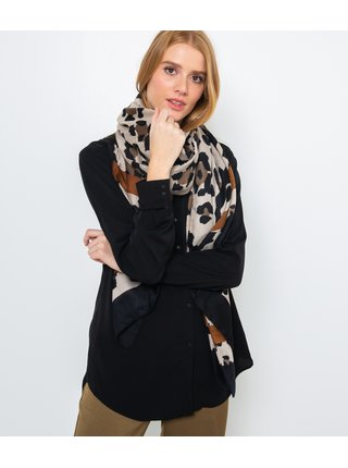 Černo-béžový šátek se zvířecím vzorem CAMAIEU