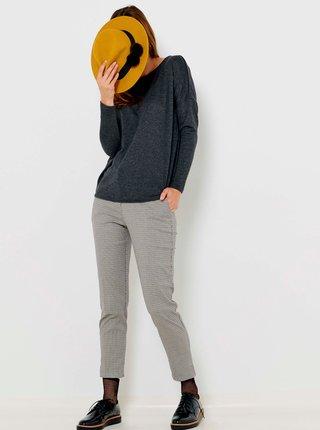 Světle šedé zkrácené kostkované kalhoty CAMAIEU