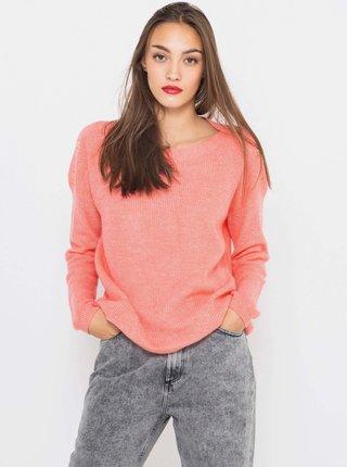Růžový svetr s příměsí vlny CAMAIEU