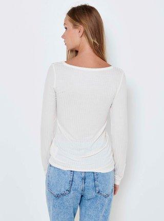 Bílé žebrované basic tričko s dlouhým rukávem CAMAIEU