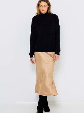 Béžová saténová midi sukně CAMAIEU