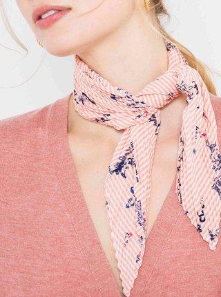 Světle růžový květovaný plisovaný šátek CAMAIEU
