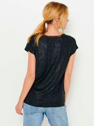Černé tričko s hadím vzorem CAMAIEU