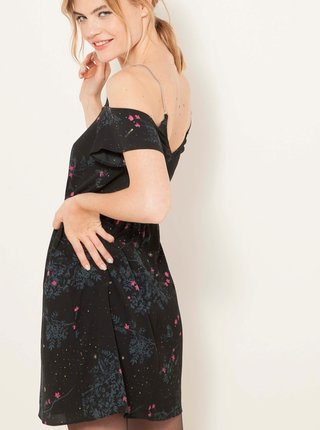 Černé květované šaty s odhalenými rameny CAMAIEU