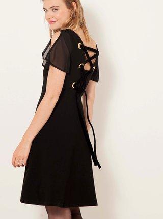 Černé šaty se šněrováním na zádech CAMAIEU