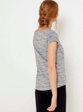 Světle šedé vzorované tričko CAMAIEU