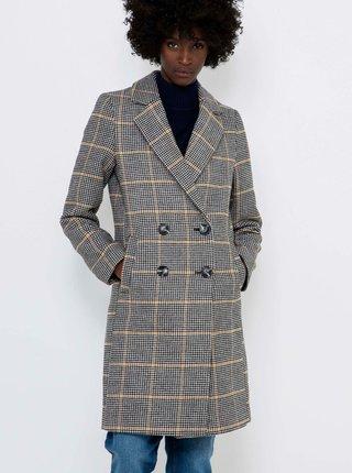 Šedý kostkovaný zimní kabát s příměsí vlny CAMAIEU