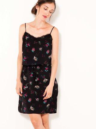 Černé květované šaty na ramínka CAMAIEU