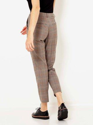 Hnědé kostkované zkrácené kalhoty CAMAIEU