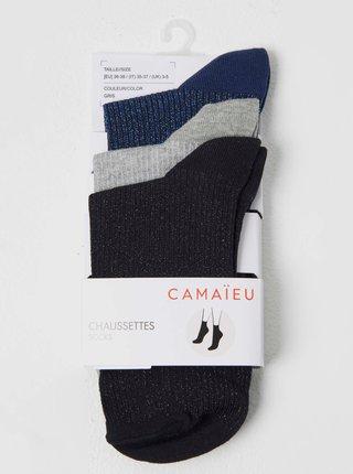 Sada tři párů ponožek v tmavě modré, šedé a černé barvě CAMAIEU