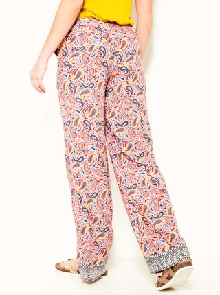 Růžové vzorované široké kalhoty CAMAIEU