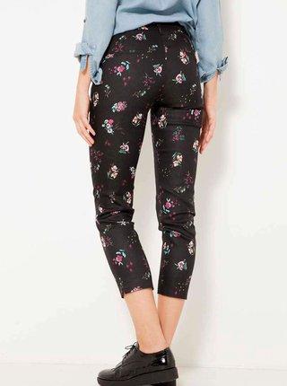 Černé květované zkrácené kalhoty CAMAIEU
