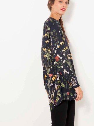 Černá květovaná dlouhá halenka CAMAIEU