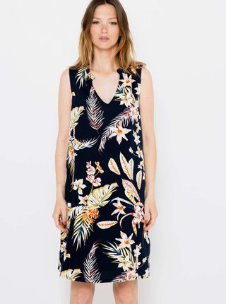 Černé květované lněné šaty CAMAIEU