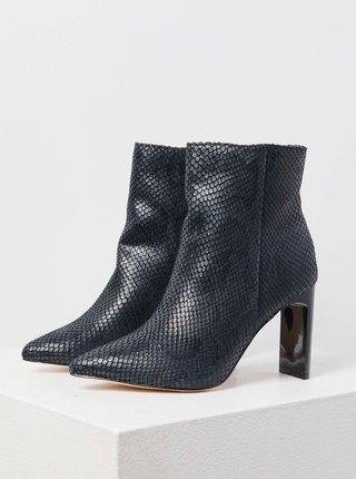 Černé kotníkové boty s hadím vzorem CAMAIEU