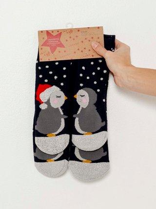 Černé ponožky s vánočním motivem CAMAIEU