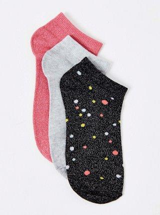Ponožky pre ženy CAMAIEU - čierna, svetlosivá, ružová