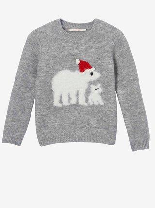 Šedý dievčenský sveter s vianočným motívom CAMAIEU
