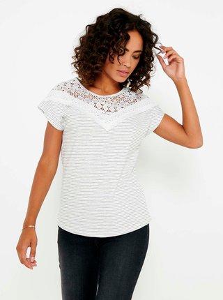Bílé pruhované tričko s krajkou CAMAIEU