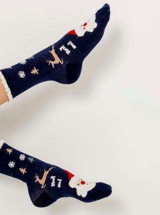 Tmavě modré ponožky s vánočním motivem CAMAIEU