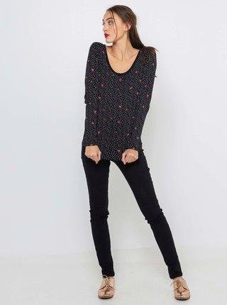 Černé vzorované tričko s dlouhým rukávem CAMAIEU