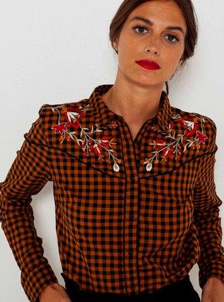 Hnedá kockovaná košeľa s výšivkou CAMAIEU