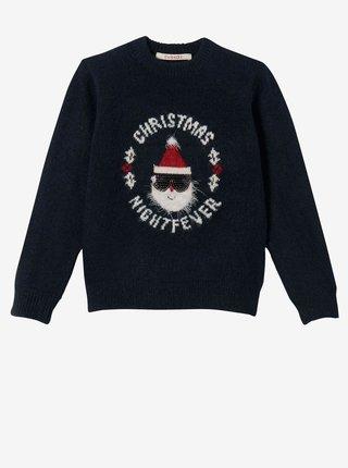 Čierny dievčenský sveter s vianočným motívom CAMAIEU