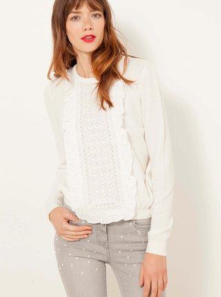 Bílý svetr s krajkou CAMAIEU