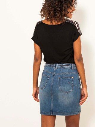 Modrá pouzdrová džínová sukně CAMAIEU