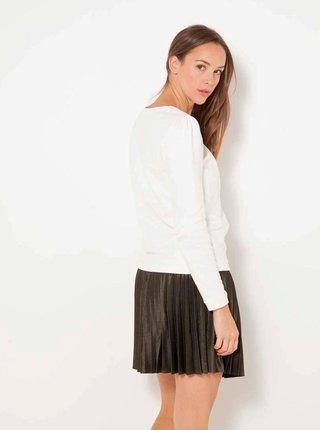 Bílý lehký svetr s ozdobným detailem CAMAIEU