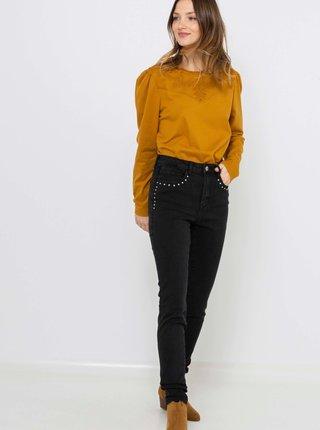 Černé slim fit džíny s ozdobnými detaily CAMAIEU