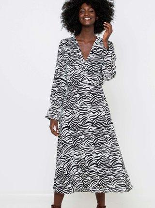 Bílo-černé vzorované midi šaty CAMAIEU