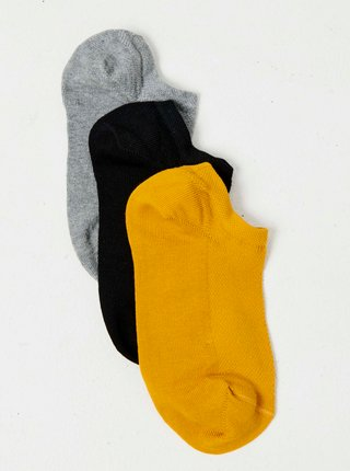 Sada troch párov ponožiek v šedej, čiernej a horčicovej farbeCAMAIEU