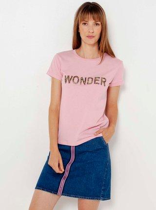 Růžové tričko s nápisem CAMAIEU