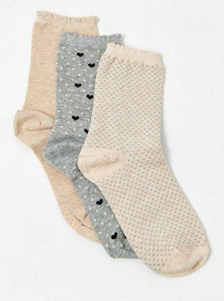 Sada tří vzorovaných ponožek v béžové a šedé barvě CAMAIEU