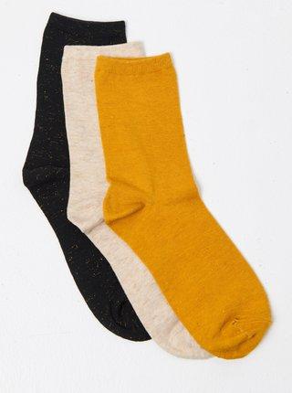 Sada troch ponožiek v čiernej, béžovej a horčicovej farbe CAMAIEU