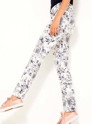Černo-bílé květované kalhoty CAMAIEU