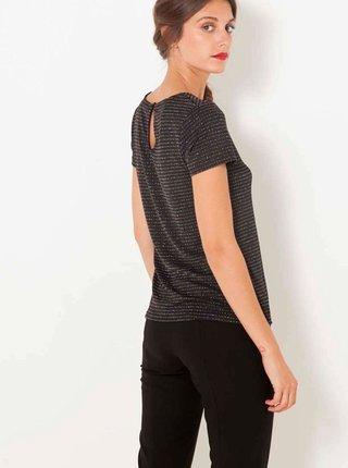 Černé třpytivé tričko s průstřihem CAMAIEU