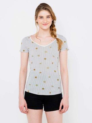 Tričká s krátkym rukávom pre ženy CAMAIEU - modrá, biela