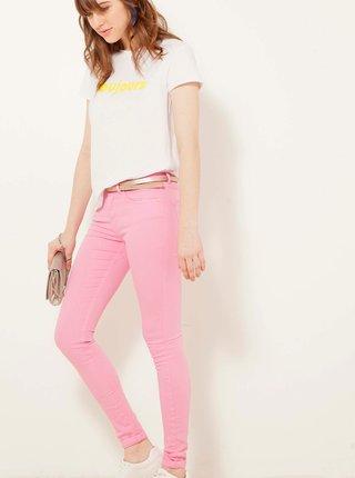 Růžové skinny fit kalhoty CAMAIEU