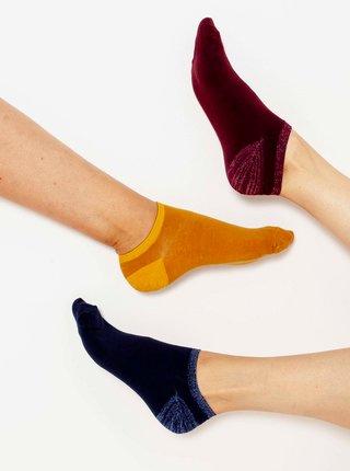 Sada tří párů ponožek v modré, vínové a žluté barvě CAMAIEU