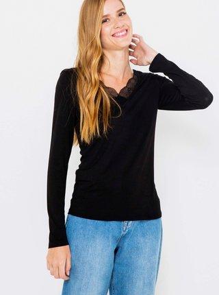 Černé tričko s krajkou a dlouhým rukávem CAMAIEU