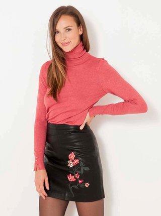 Černá koženková sukně s výšivkou CAMAIEU