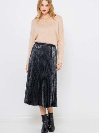 Černá třpytivá plisovaná midi sukně CAMAIEU
