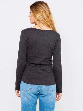 Tmavě šedé basic tričko s dlouhým rukávem CAMAIEU