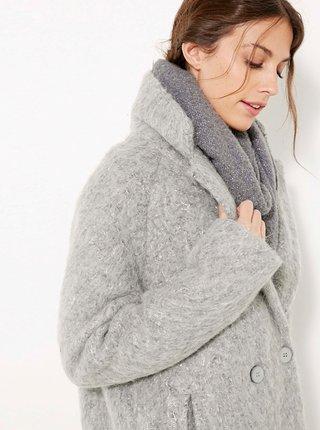 Světle šedý zimní kabát s příměsí vlny CAMIEU