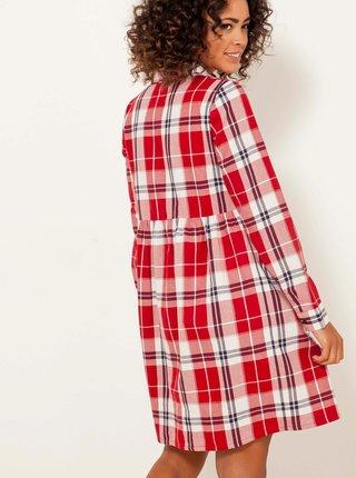 Červené kostkované košilové šaty CAMAIEU
