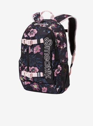 Růžovo-černý květovaný batoh s penálem Meatfly Basejumper (22 l)