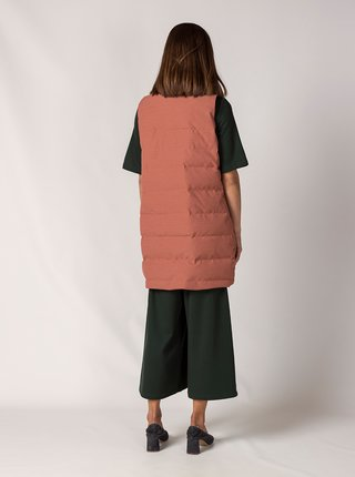 Starorůžová dlouhá prošívaná vesta SKFK Grazi